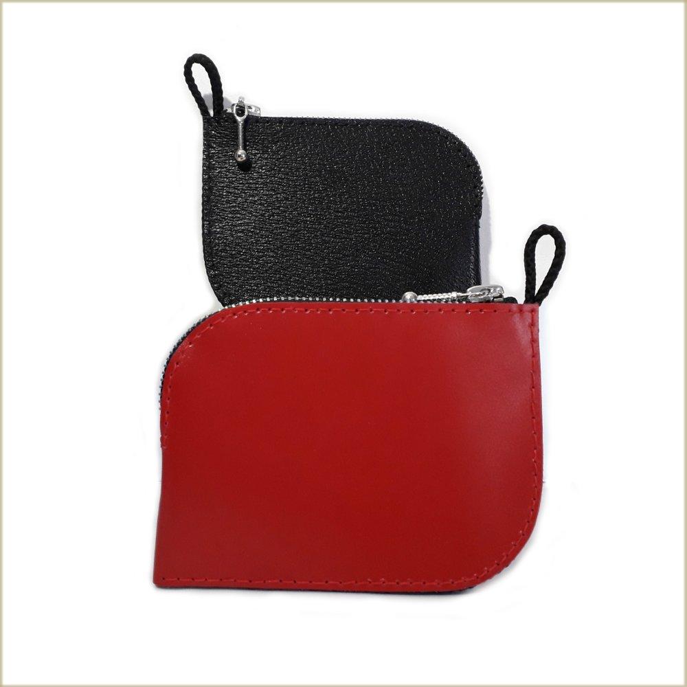 Porte monnaie cuir luxe - Porte monnaie original en cuir rouge