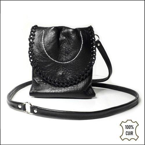 Petit sac en cuir noir à bandoulière pour femme - sac en cuir souple