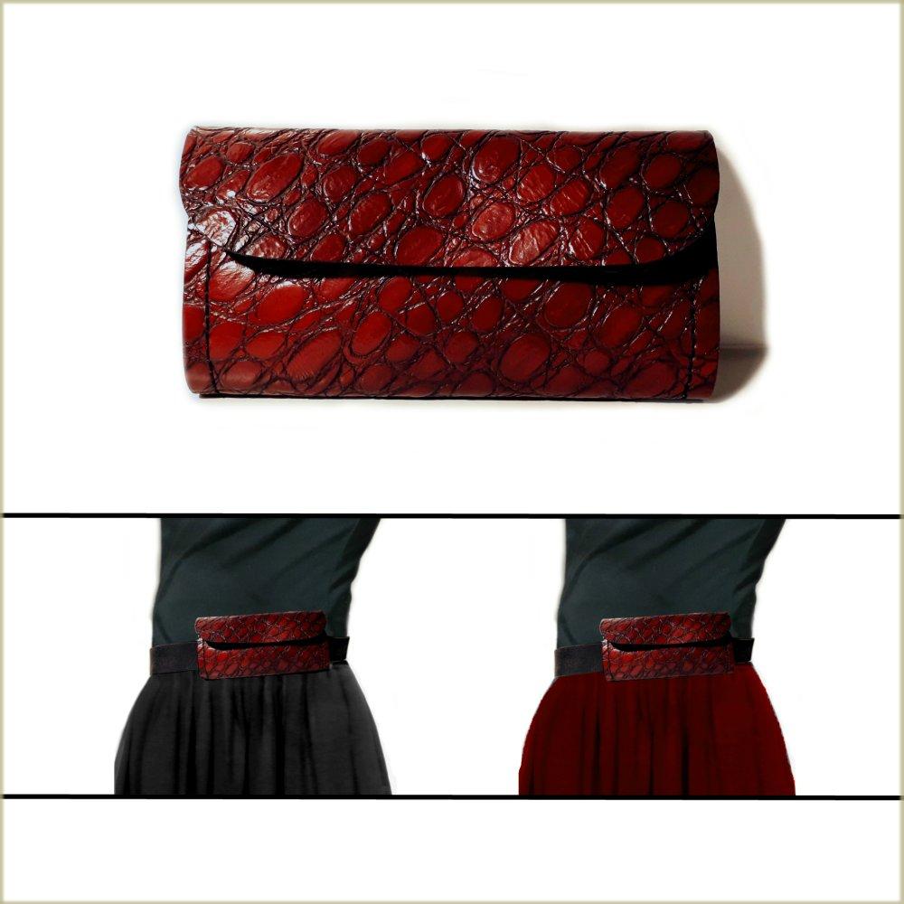 Petit sac pour ceinture, pochette cuir rouge pour FEMME