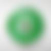 1 perle disque 37mm en verre lampwork transparent moucheté vert
