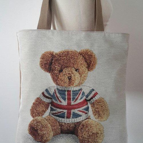 Sac cabas, sac à main, sac shopping, tote bag original motif ourson
