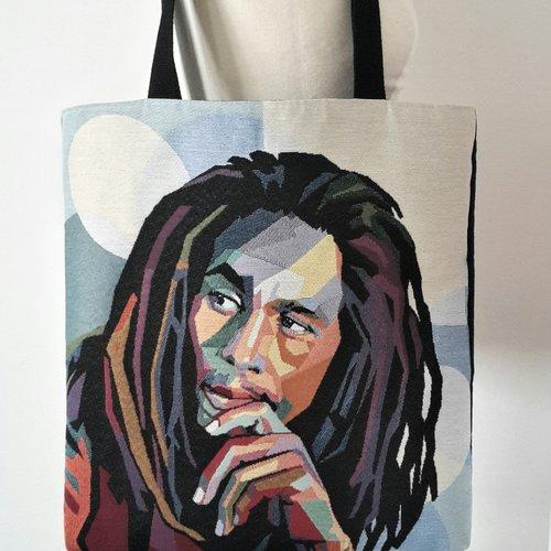 Sac cabas, sac à main, sac shopping, tote bag original motif bob marley