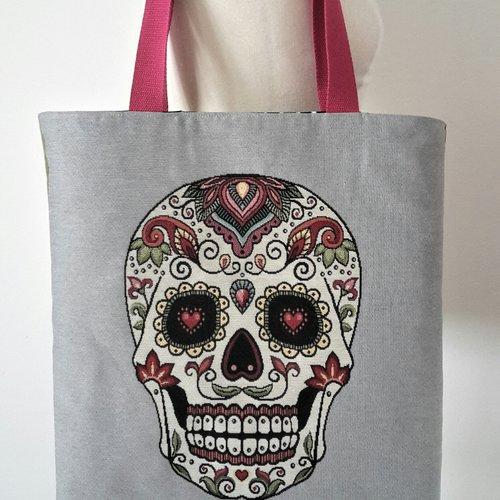 Sac cabas, sac à main, sac shopping, tote bag original motif tête mexicaine