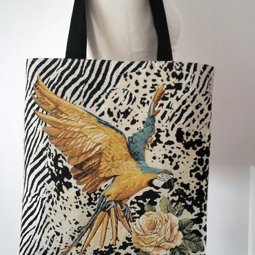 Sac cabas, sac à main, sac shopping, tote bag original motif perroquet