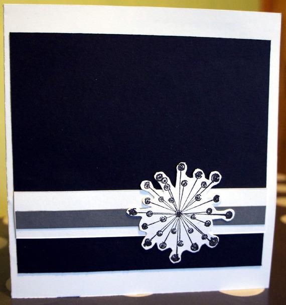 Carte de voeux en  pop up noir et blanc fait main