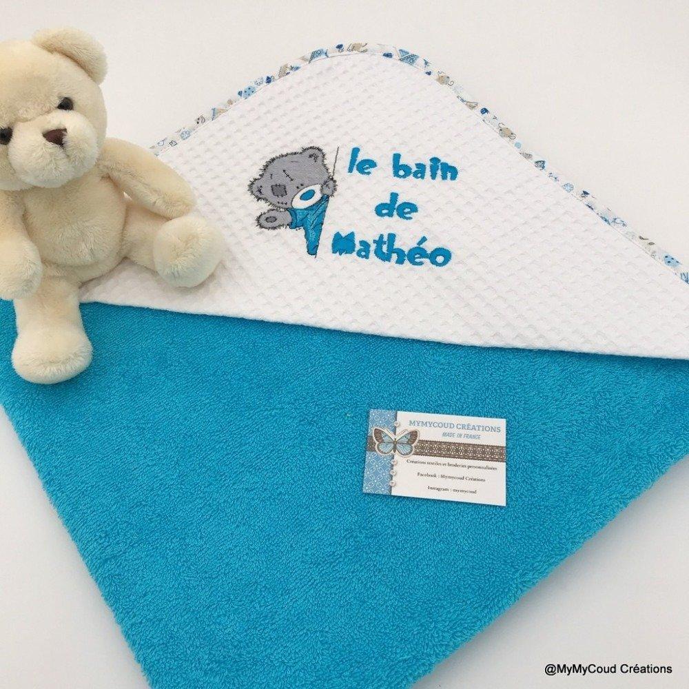 Sortie de bain personnalis/ée pour b/éb/é 80 x 80 cm Cape de bain en /éponge personnalisable pour enfant 100/% coton Mod/èle chat Avec pr/énom