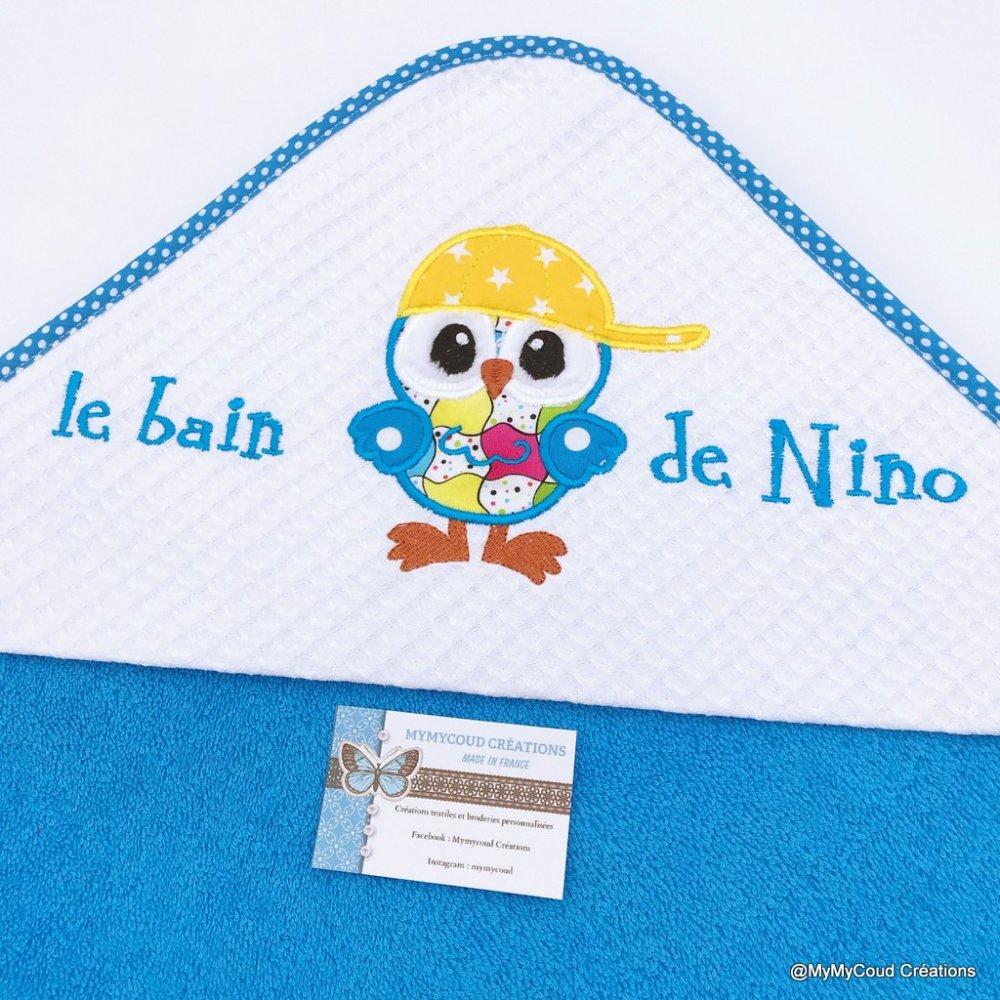 Sortie de bain / Cape de bain bébé personnalisée hiboux