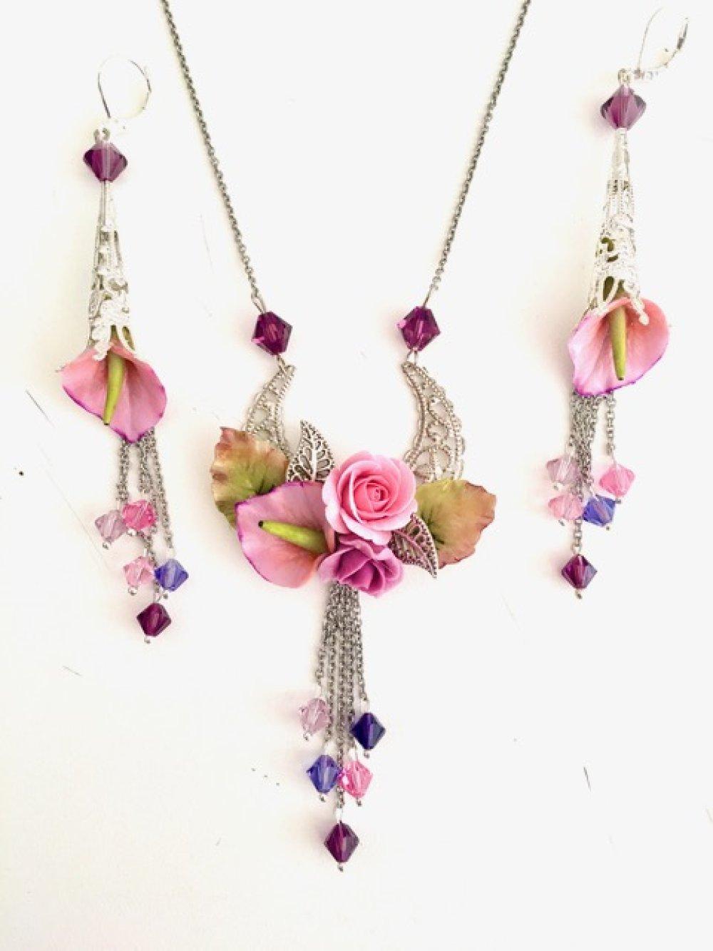 Collier fleurs porcelaine froide rose et violet, cristal Swarovski, bijoux fleuris, bijoux fleurs