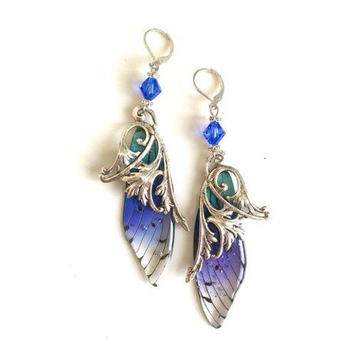 Superbes boucles d'oreilles en argent avec ailes de fées, feuilles d'acanthe art nouveau et cristal swarovski bleu