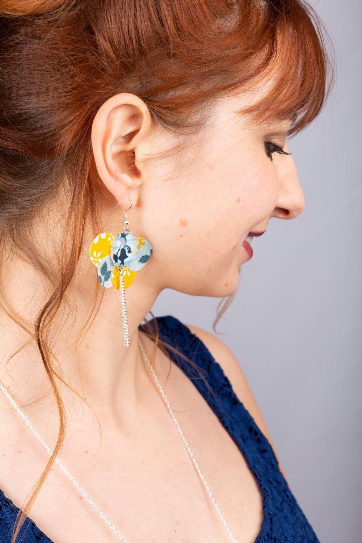Boucles d'oreille tissu PERSONNALISABLE