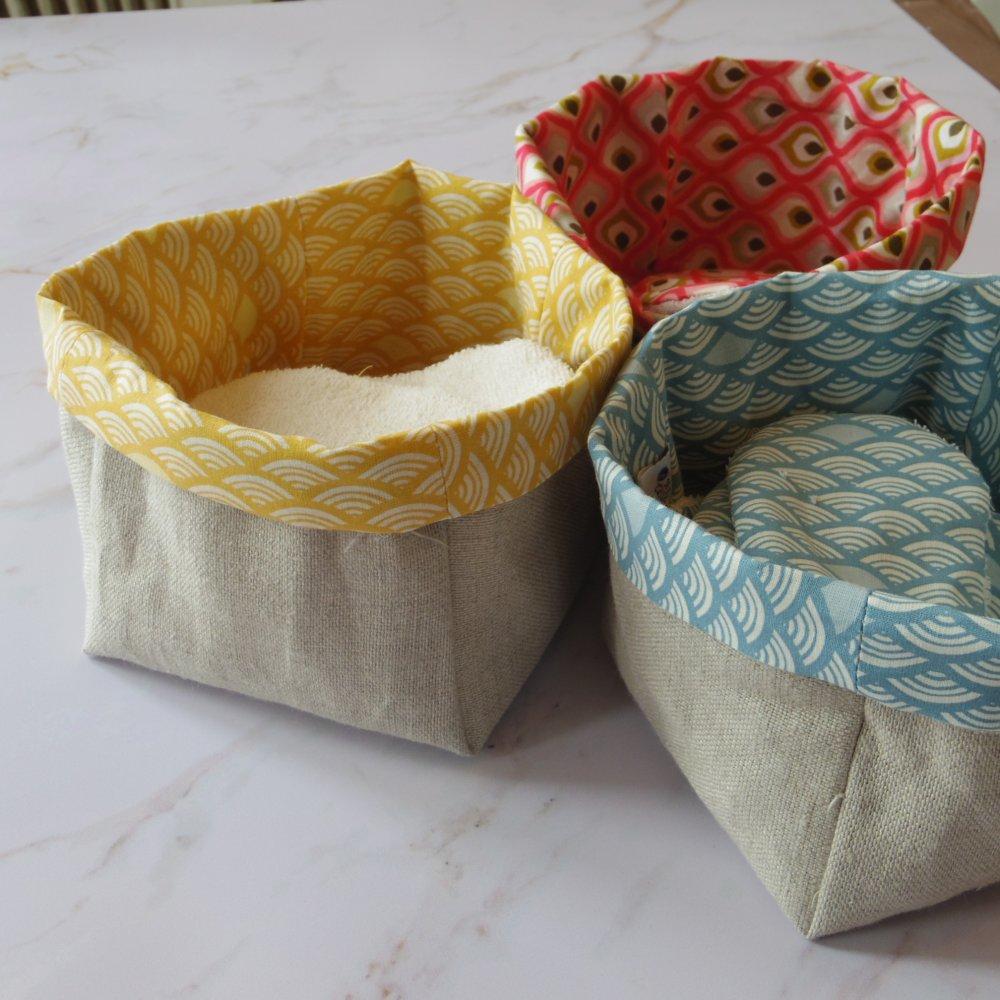 Lingettes lavables et corbeille en lin