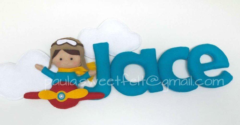Plaque de porte Aviateur, lettres fdécoreés feutrine, cadeau naissance, anniversaire, personalisé