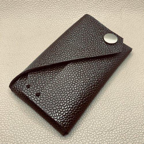 Porte-cartes origami cuir brun grainé