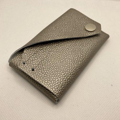 Porte-cartes origami cuir grainé champagne