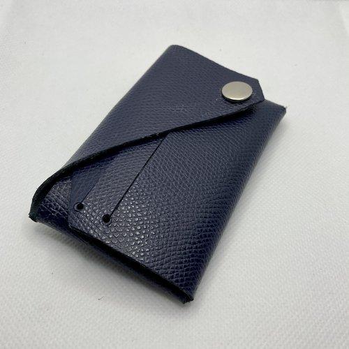 Porte-cartes origami cuir grain dauphin bleu marine