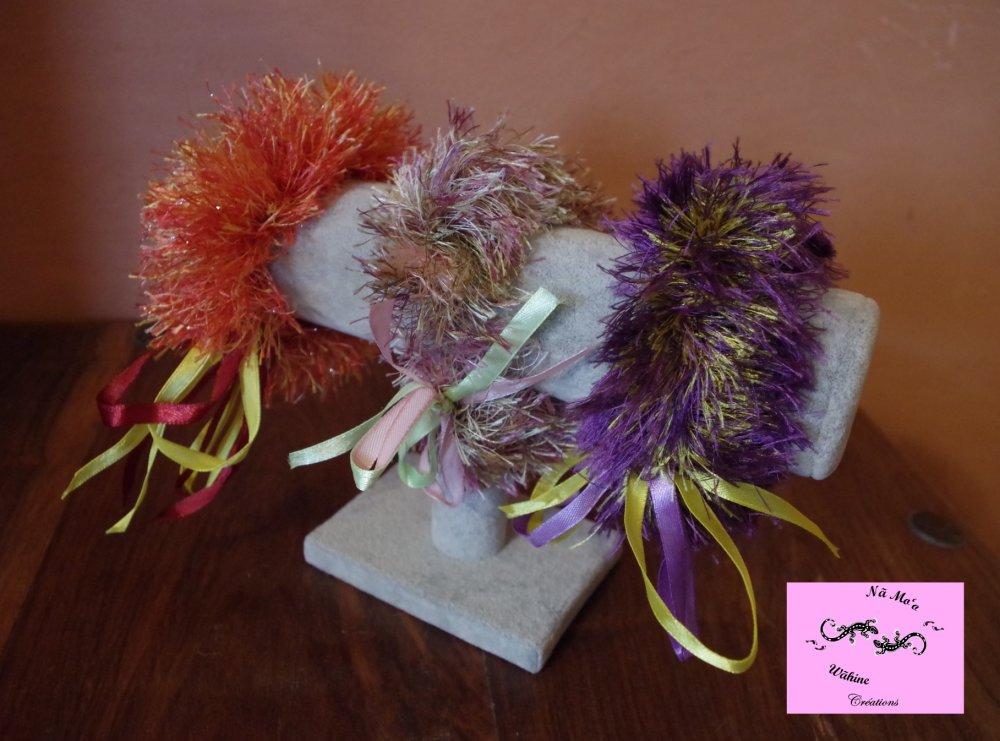 Chouchou ou bracelets, Kupe'e, inspirés des Lei Hulu traditionnels