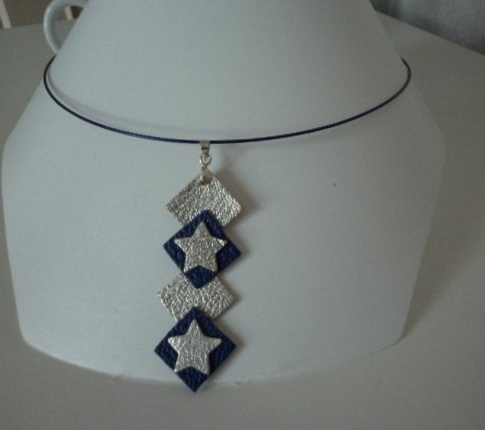 collier cuir bleu et argent