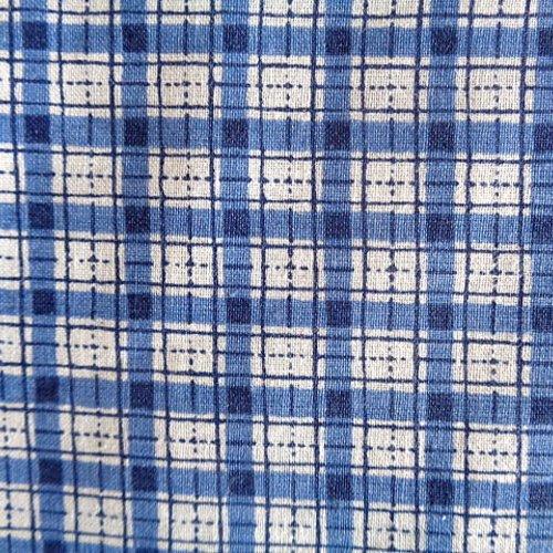 Coupon de tissus écossais coton bleu et blanc 1 mètre 55 x 90 cm