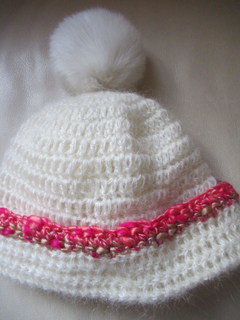 bonnet en laine mohair écru, chapeau laine