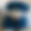Béret taille m/l (57/58) + snood, tour de cou, écharpe tube, col amovible, taille unique , bleu, avec noppes, pour femme
