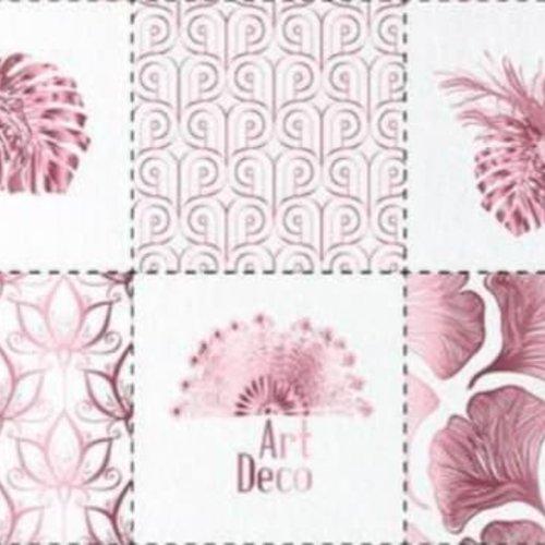 Lingettes démaquillantes, lavables et réutilisables art deco rose