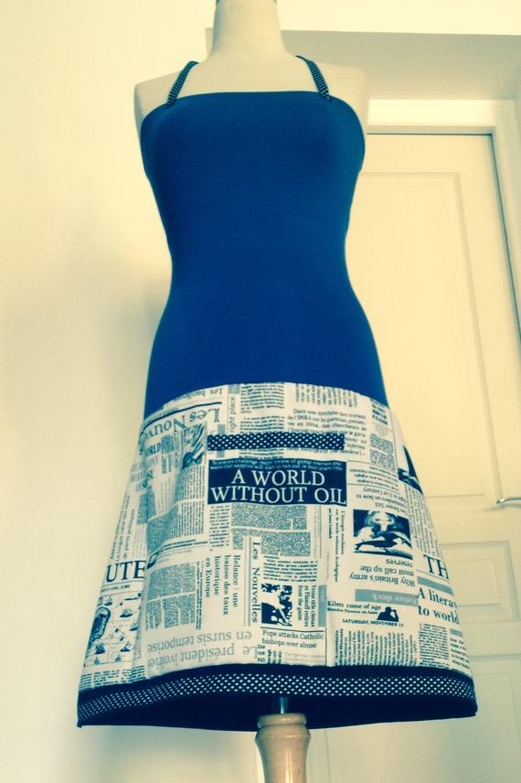 Robe Bustier/Jupe Jersey Lavande/ Imprimé Journal Noir/Blanc/Pois