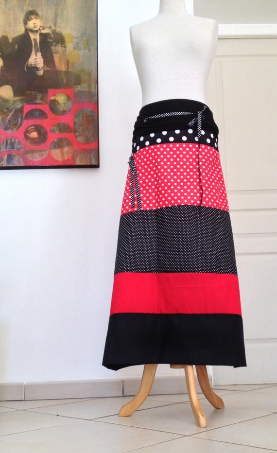 Robe Bustier/Jupe Longue en Jersey Noir -Coton Imprimé Pois Rouge