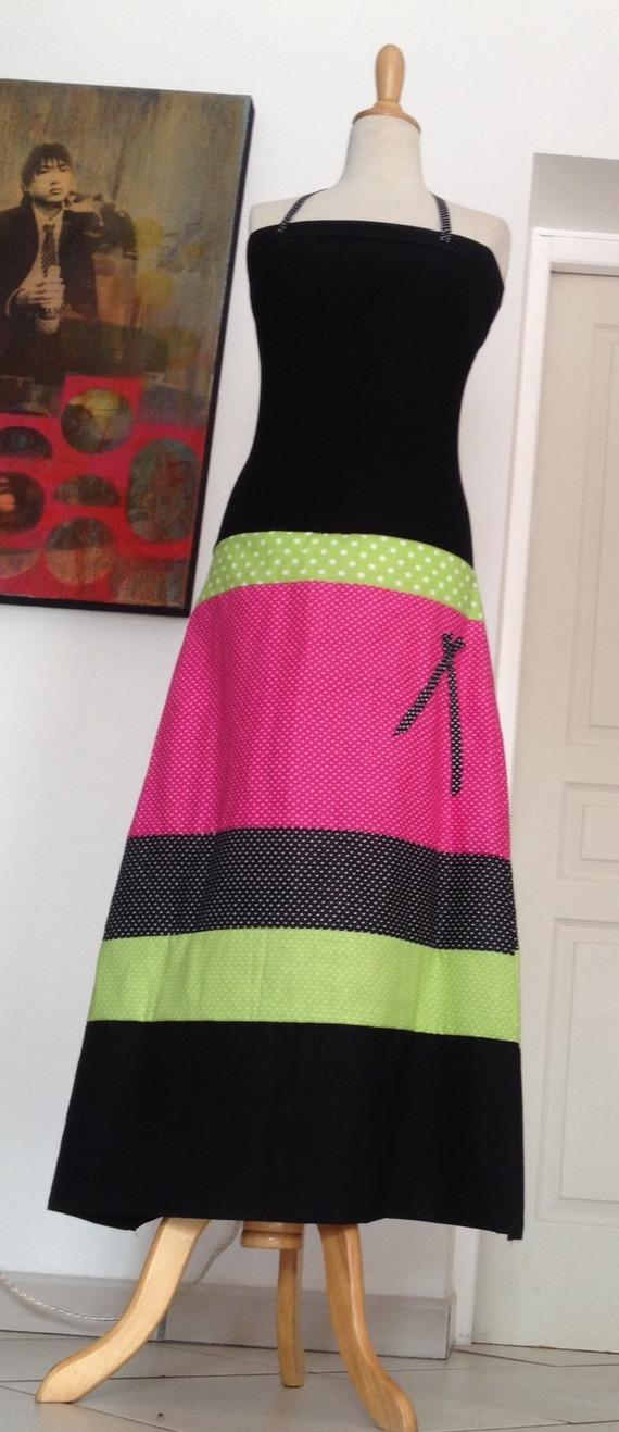 Robe Bustier Jupe Longue Jersey Noir /Vert Rose Noir à Pois