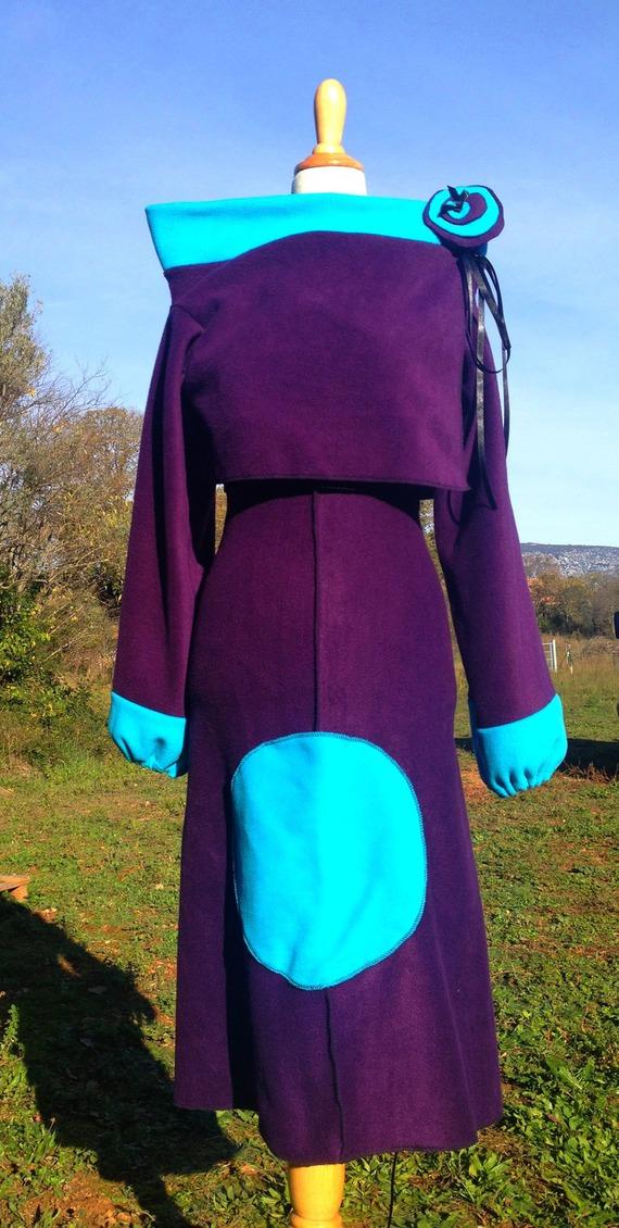 Ensemble Robe polaire ajustable Prune poche bleue + boléro/ Réalisable dans les couleurs de votre choix