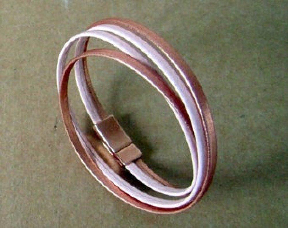 Bracelet Cuir Rose/Or Rosé, 2 Tours de Poignet, Fermoir Or Rose Aimanté