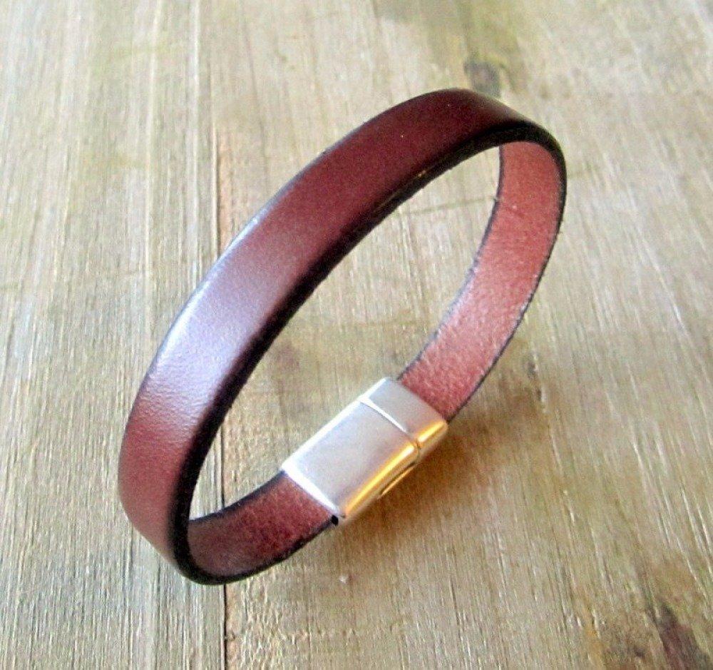 Bracelet homme cuir véritable marron, idéal pour lui