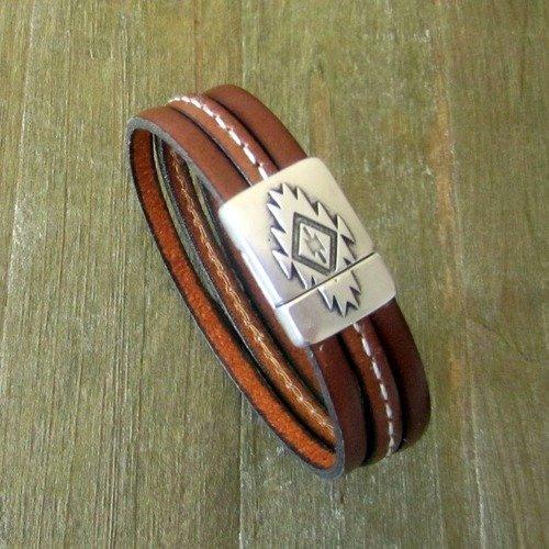 bracelet cuir marron pour homme
