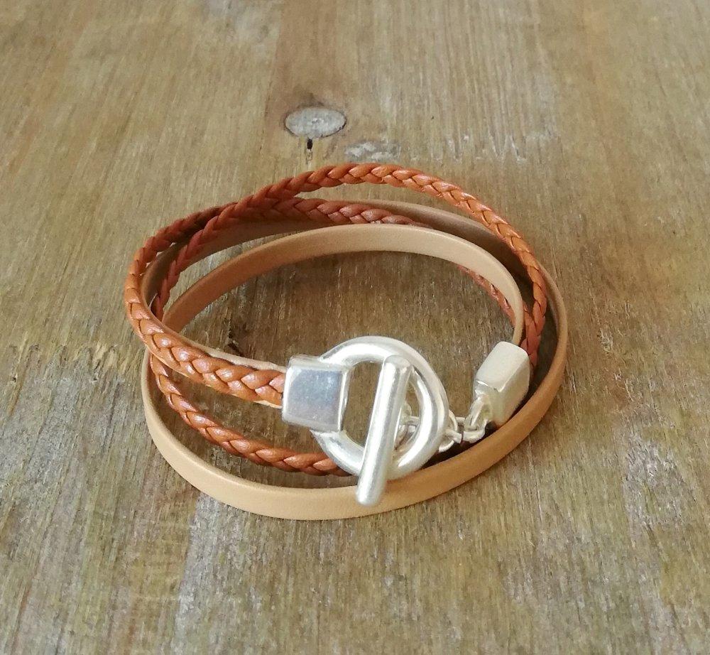 Bracelet cuir lisse et tressé camel, idéal pour elle