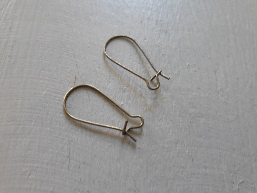 Crochet d' oreille, apprêt bijoux ,  crochet bronze par 10