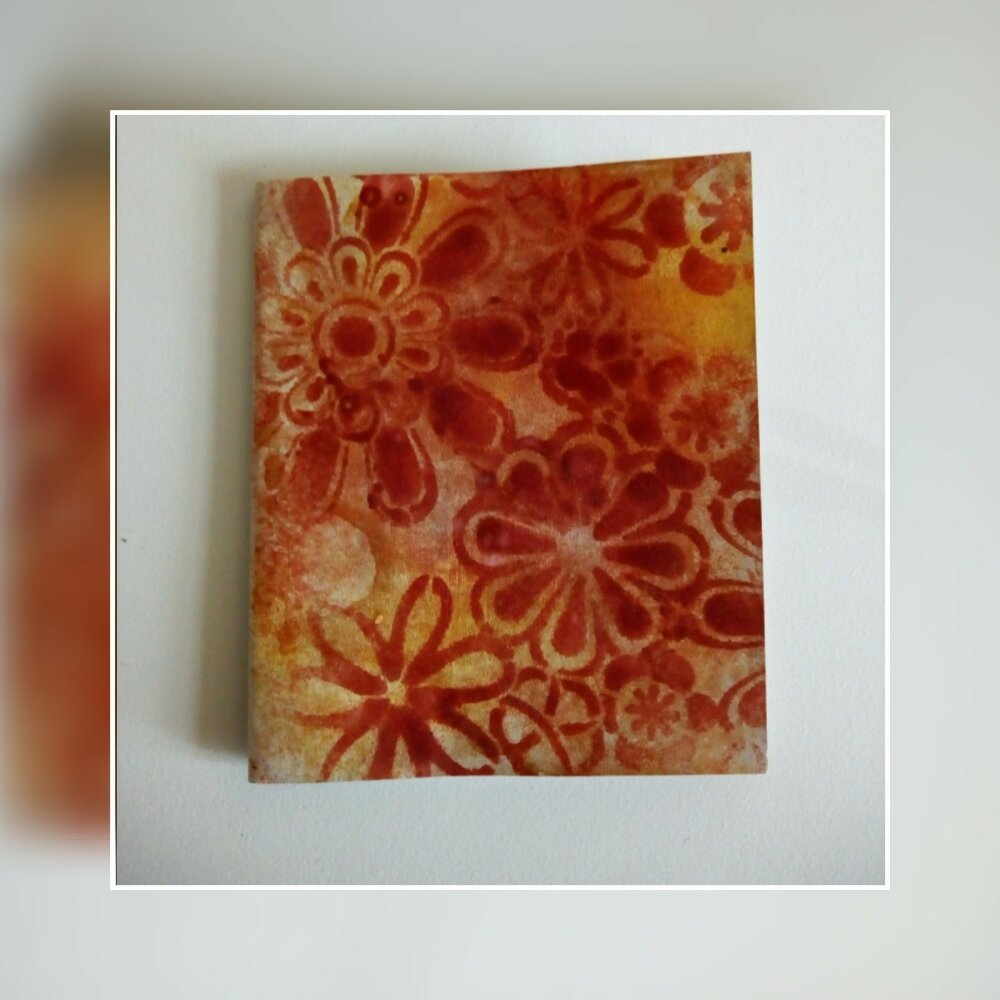 CARNET mandala  orange -  PAPIER IVOIRE 100x120mm