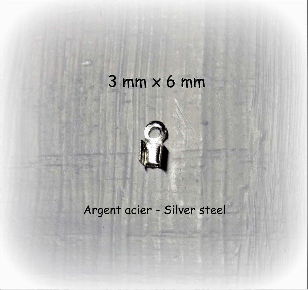 Embouts à sertir métal argenté ton acier (argenté foncé) pour cordons, fils câblés, chaîne. (x 10).
