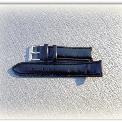 Bracelet montre femme simili cuir noir 19 cm
