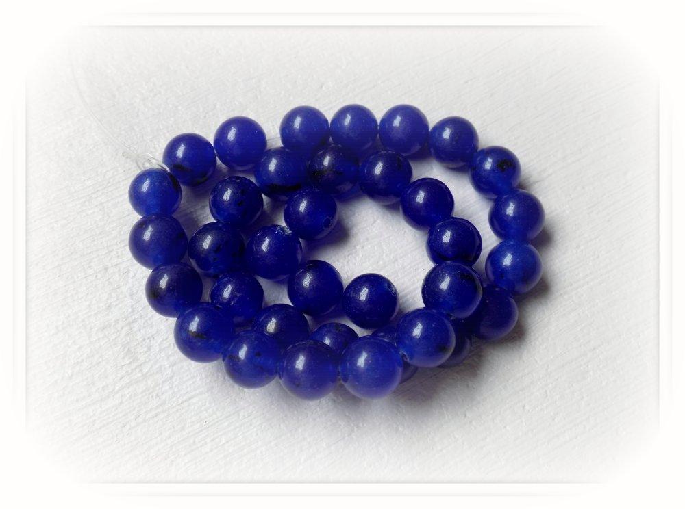 Perles de Saphir - pierre précieuse - bleu foncé de 8 mm - trou 1 mm - (x 5)