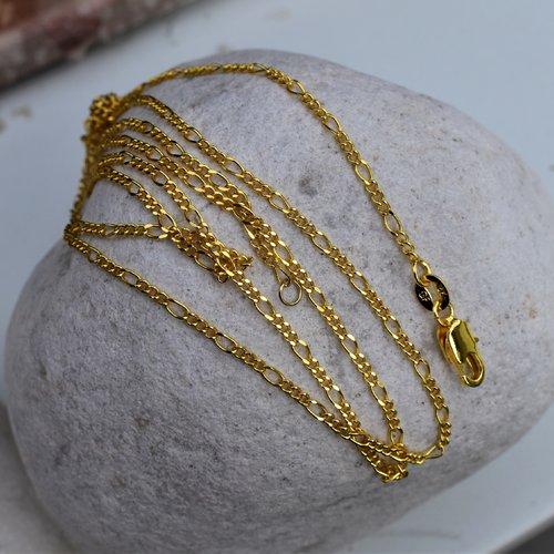Chaîne or jaune rempli 18 k (gold filled 18 k) maillon figaro 1,2 x 3 mm, poinçonnée - 76 cm (1 pièce)