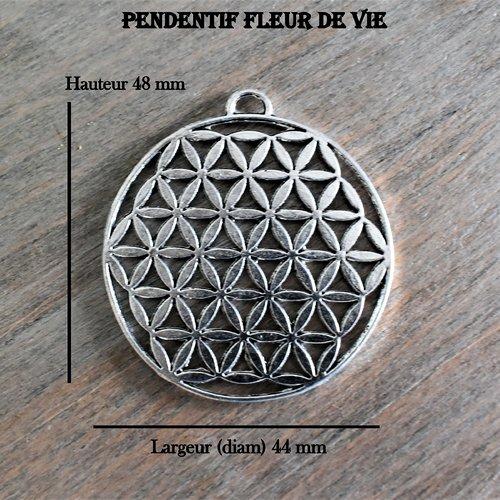 Pendentif fleur de vie 48 x 44 mm -  filigrane argent tibétain (x 1  unité)