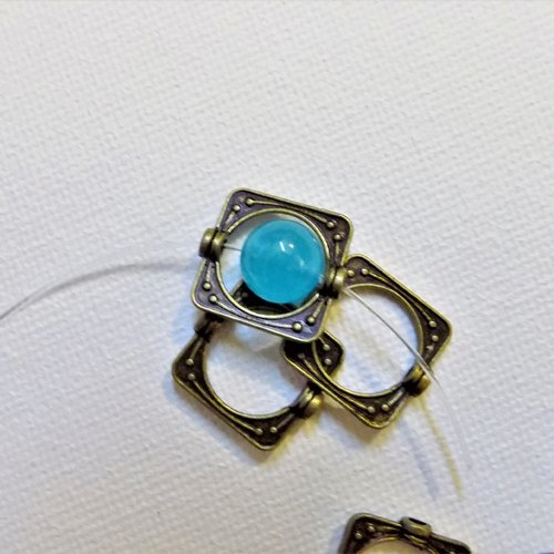 Cadre de perle bronze vieilli rectangle 15 x 14 mm, trou 1,9 mm (x 2)
