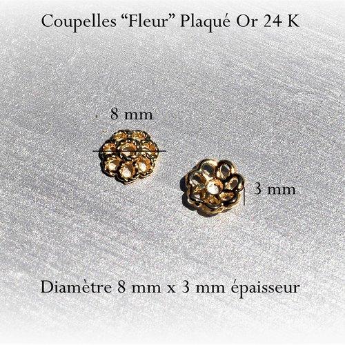 """Coupelle """"fleur"""" fiigrane plaqué or 24 k - ronde 8 mm, trou 1 mm (x2)"""