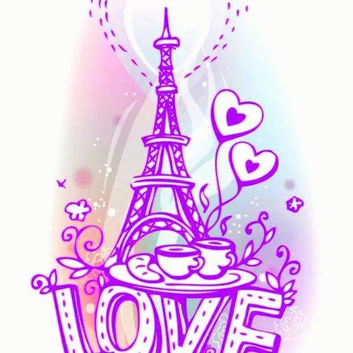 Découpe scrapbooking mot love avec la tour effel, alphabet, lettre, écriture, papier embellissement, die cut