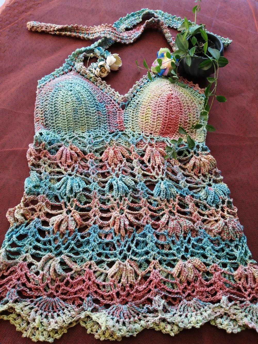 Top Multicolore ,Hippie, Boho,débardeur d'été, au crochet