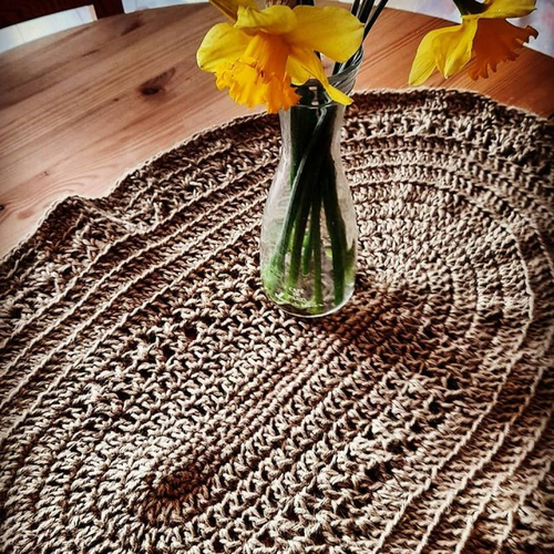 Tapis en jute au crochet ,boheme,fibre naturelle,tapis de porte