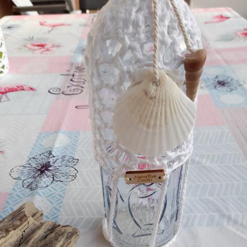 Bouteille au crochet, décoration,lumières lampes led