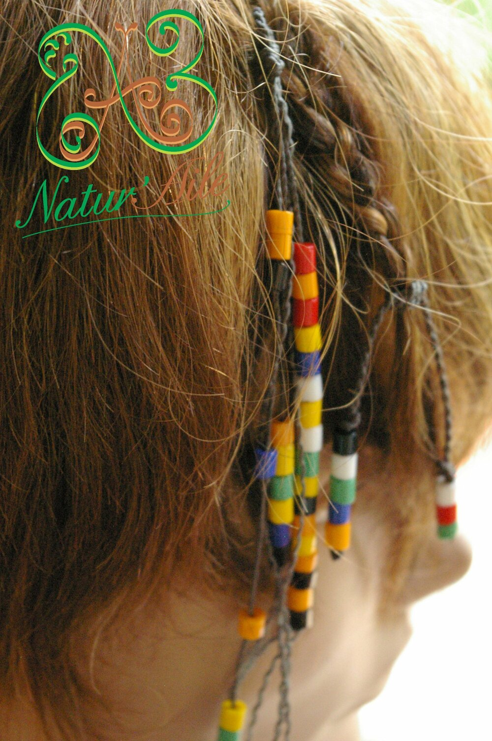 Natte Maïta perles multicolor et fils gris,#Dreads# atebas#BOHO #Macramé#BIJOUX#Cheveux#Unique#tresse#Amour#Accessoires de coiffur