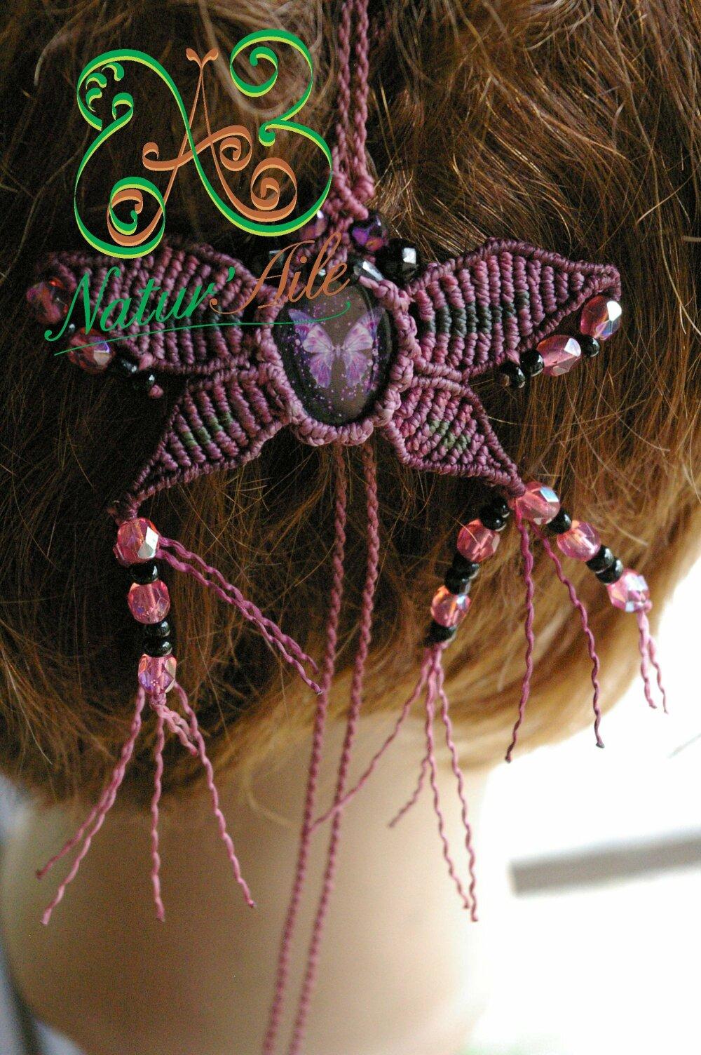 Natte Maïta papillon  violet et perles rose multifacette et noir,#Dreads# atebas#BOHO #Macramé#BIJOUX#Cheveux#Unique#Accessoires