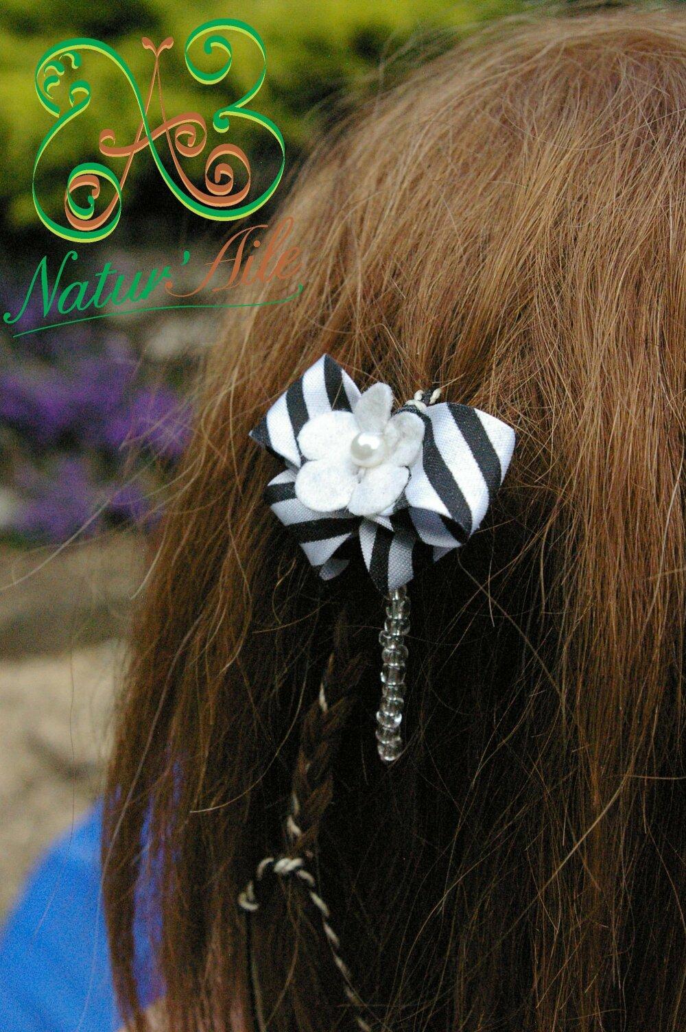 Natte Maïta fleur blanche et noeud Noiret Blanc,#Dreads# atebas#BOHO #Macramé#BIJOUX#Cheveux#Unique#tresse#mariage#Accessoires de coiffure