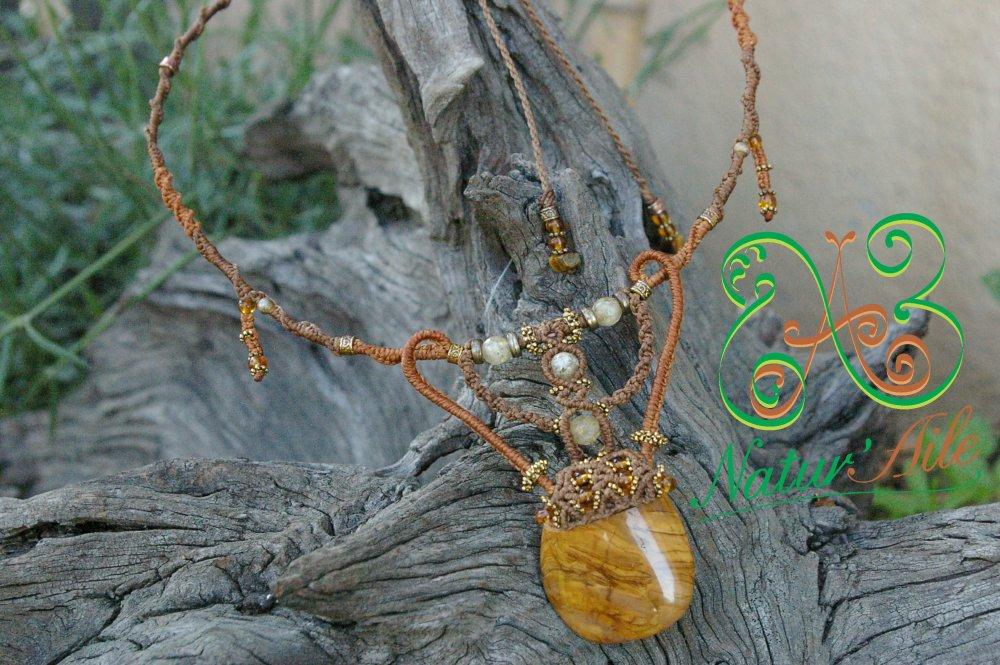 Collier tour de cou doré, citrine et jaspe jaune..#macramé#oeil de tigre#pierre#gemme#marron#collier#